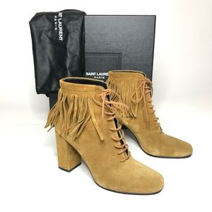 YSL Saint Laurent Paris Tan Suede Fringe Booties
